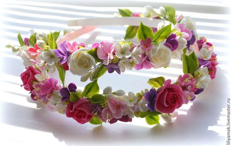 Купить Ободок для волос с цветами ручной работы - ободок с цветами, цветы ручной работы