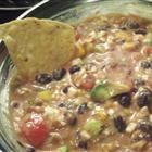 AWESOME mexican dip with avacado, black beans, tomatoes, salsa and more YUM