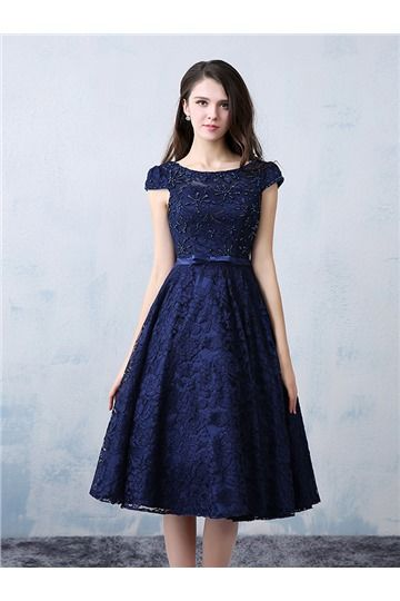 Vintage Lace Beading Boat Neck Cap Sleevels A-line Knee Length Cocktail Dress
