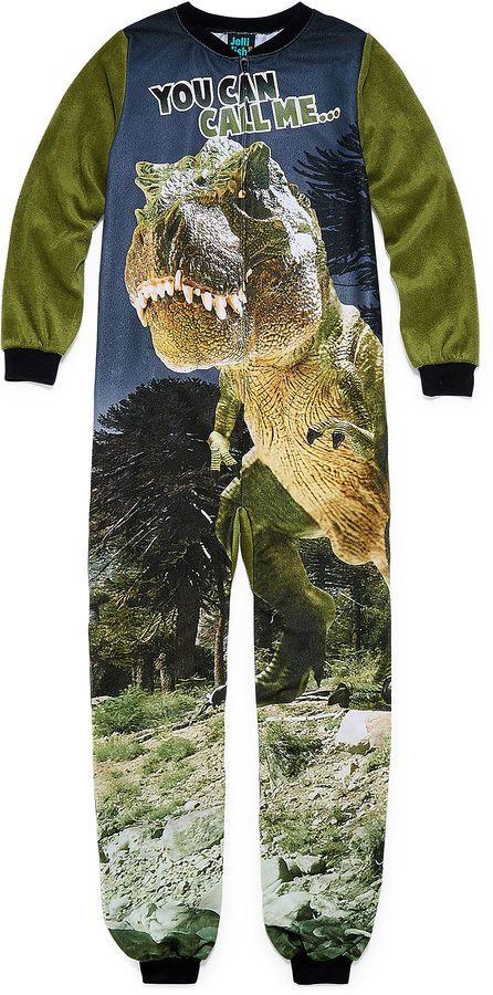CUTTLEBUG Cuttlebug Dinosaur Long Sleeve One Piece Pajama-Boys
