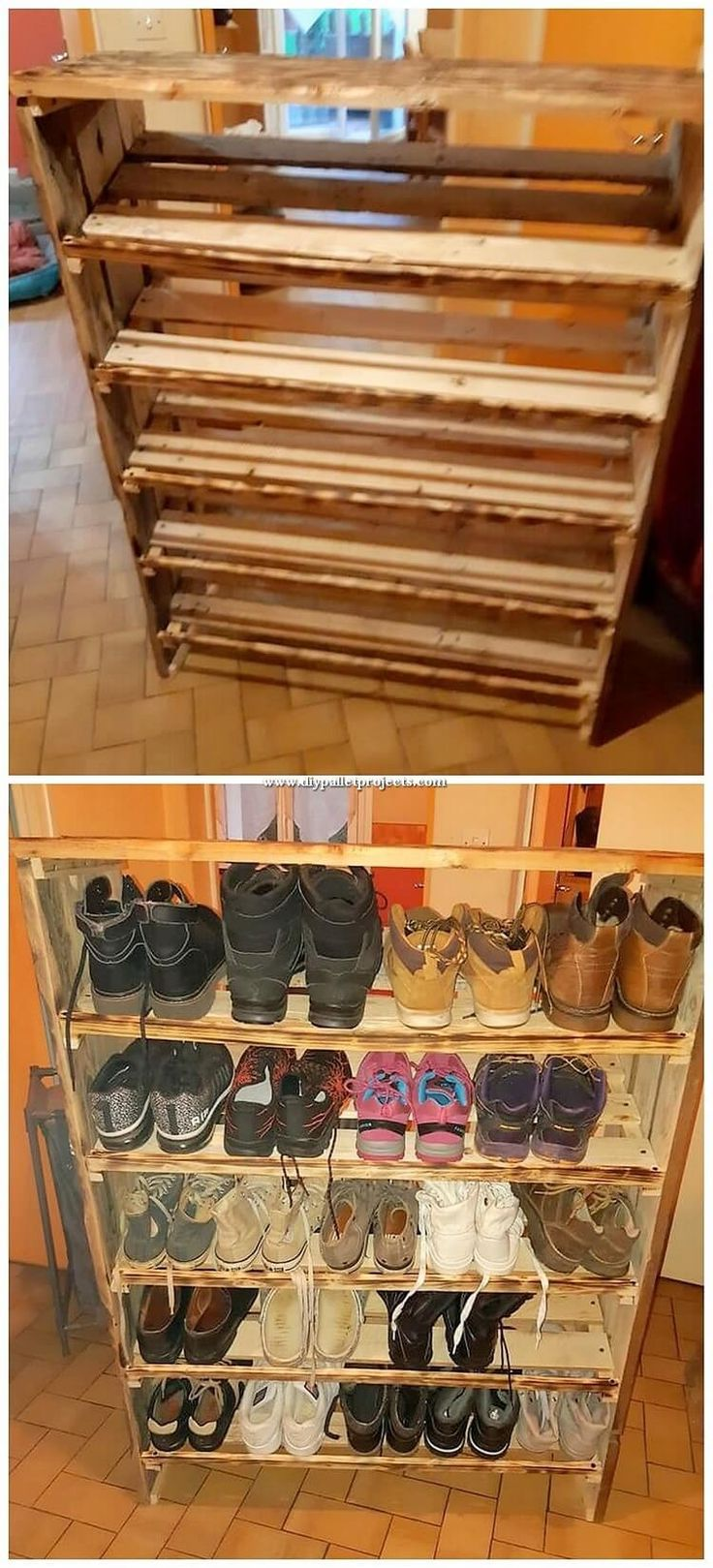 easiest diy projects made with shipping pallets wood on wood shoe rack diy simple id=46237