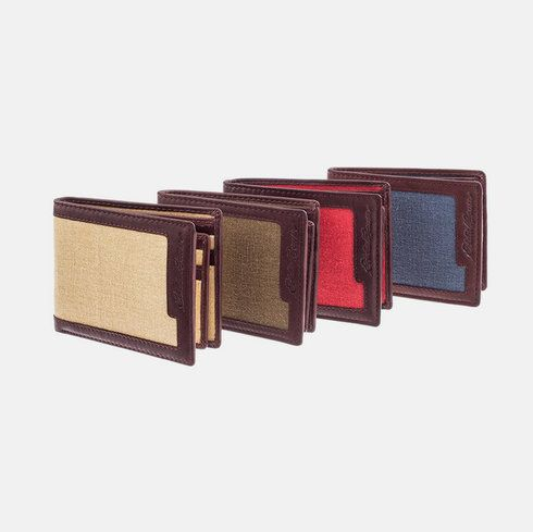 Leather with Canvas Wallet