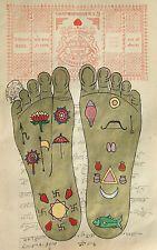VISHNU PADA FOOTPRINT Foot Tantrik Tantric Painting Hindu Handmade Yoga Artwork