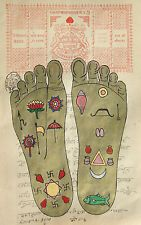 VISHNU PADA FOOTPRINT Foot Tantrik Tantric Painting Hindu Handmade Yoga Artwork