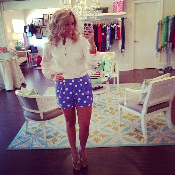 Elizabeth McKay top, polka dot shorts, Valentino wedges