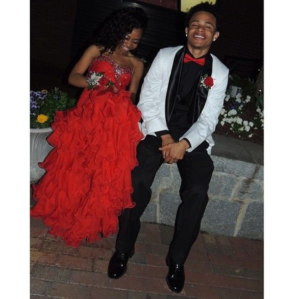 Red dress prom asking
