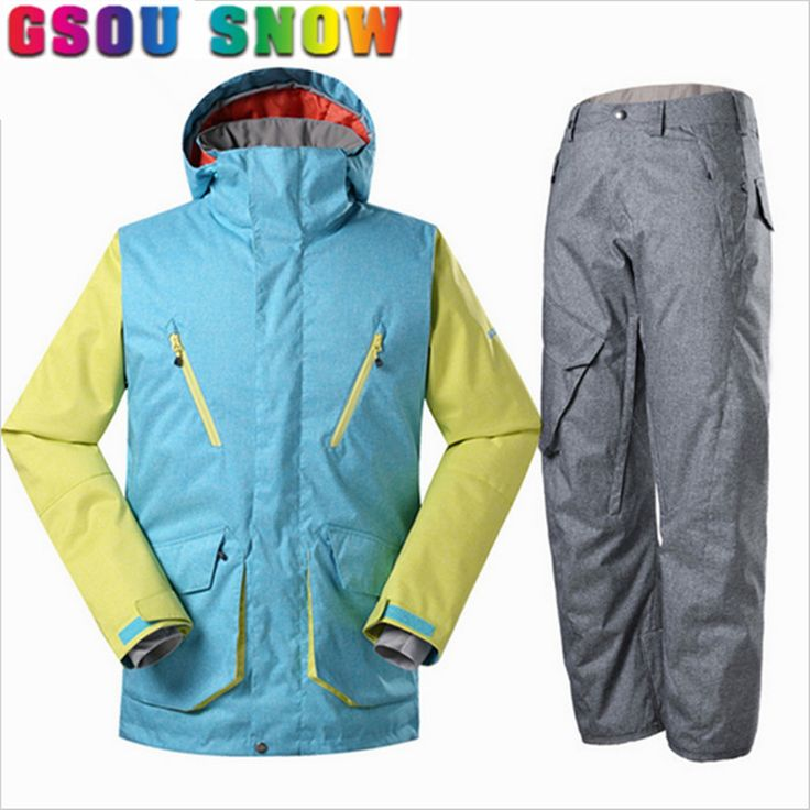 ==> [Free Shipping] Buy Best Gsou Snow Men Ski JacketPants Snow Suit High Quality Snowboard Jackets Waterproof Windproof Winter Outdoor Sports Clothing Online with LOWEST Price | 32818871212