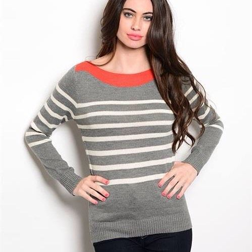 $25 Striped Sweater w/Orange Boat Neckline!  Available in Small, Medium & Large.  To purchase please comment with your email address, size and state.  We will then email you your invoice with a secure checkout link.  Or comment on our Facebook page at www.facebook.com/RoyalRavenBoutique #freeshipping #royalravenboutique #sweater #womensapparel #boatneckline #stripes #gray #orange #instashop #clothing #boutique #fall #readyforwinter