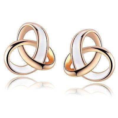 Fashion 18K Rose Gold GP Swarovski Crystal Stud Earrings E2120
