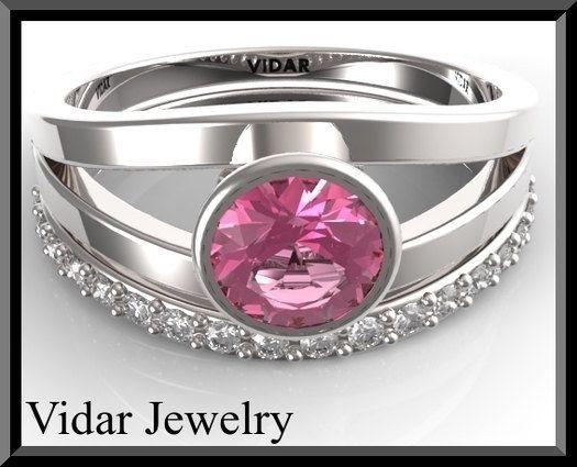 Pink Wedding Ring SetDiamond Wedding Ring by Vidarjewelry on Etsy, $1449.00