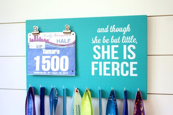 Running Medal Bib Holder And though she be but by YorkSignShop