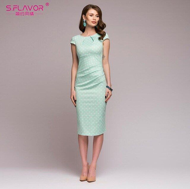 S,flavor 2018 spring summer dress women dot print slim dress short sleeve office business dress elegant sheath party vestidos