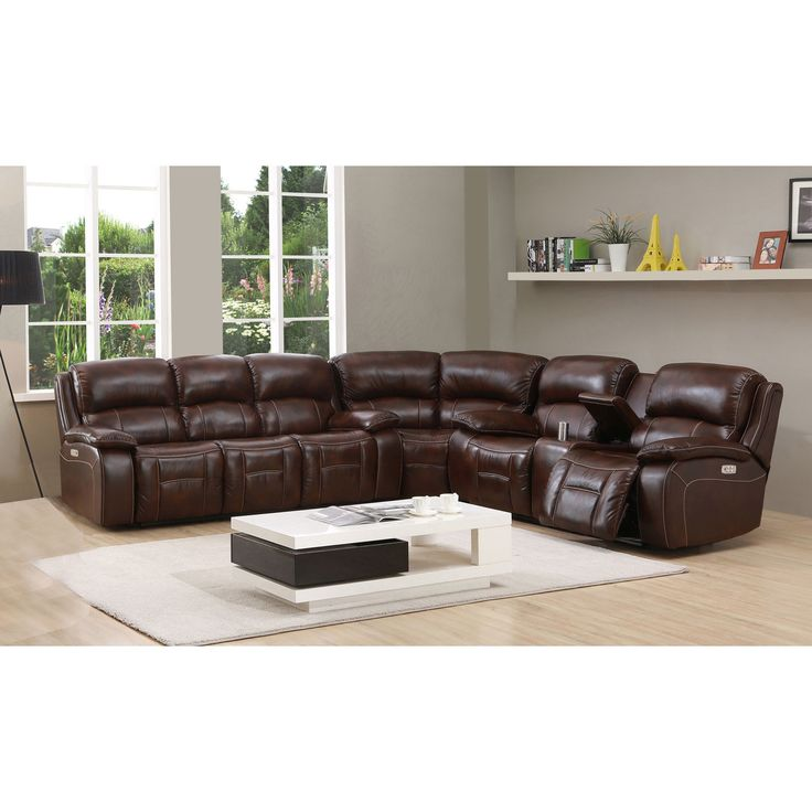 Hydeline by Amax Westminster II Top Grain Power Reclining Sectional Sofa with Power Headrest