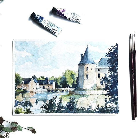 Castle France Original Drawing Table Castle Of Loire Castle Du