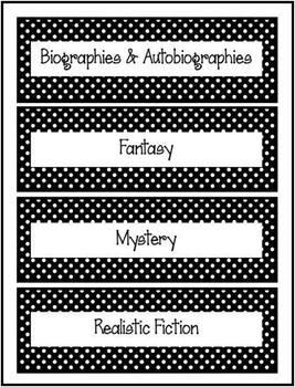 FREEBIE! These are genre book basket labels to use in your classroom library. They each have a black and white polka dot border, so they can be used with any classroom theme. http://www.teacherspayteachers.com/Store/Kim-Miller-24