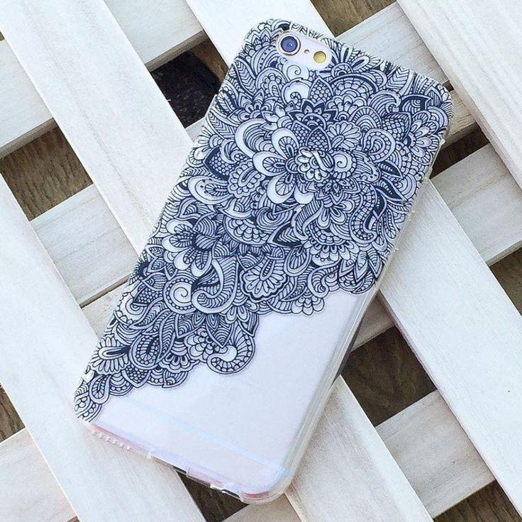 Sannysis Schwarz Klar Floral Hülle fürs iPhone 6 (Apple Tech)