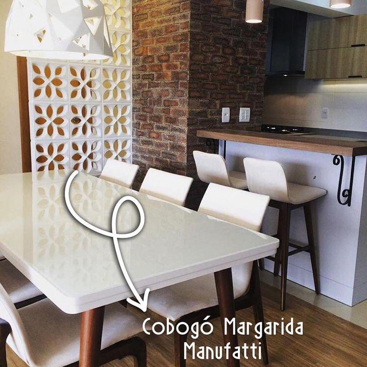 Nosso cobogó Margarida 30x30  Projeto da arquiteta Bárbara Essig @baessig #elementovazado #cobogó #manufatti