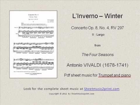 Vivaldi : Four Seasons - Winter 2/3 - Trumpet www.sheetmusic2print.com/Vivaldi/Trumpet/Four-Seasons-Winter-Largo.aspx