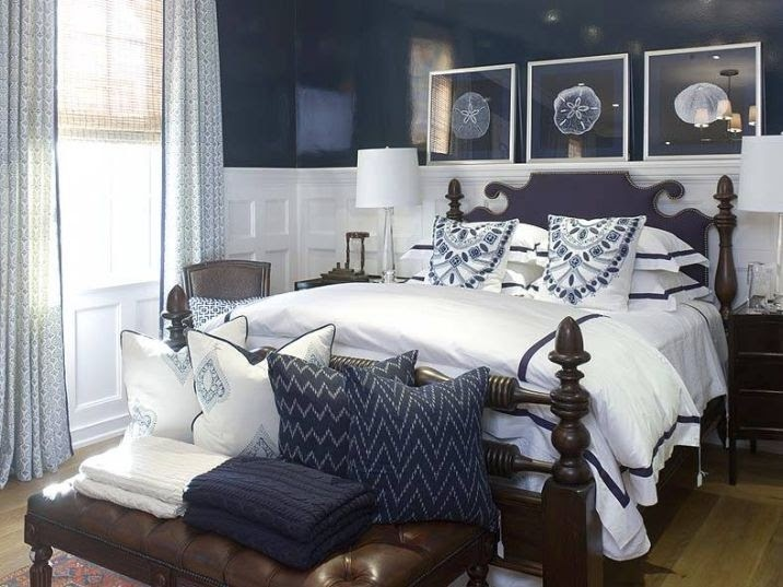 Beautiful Navy Blue And Gray Bedroom Ideas Part - 9: Blue And White Bedroom: Surprising Navy Blue White Traditional Bedroom  Design Decorating Ideas