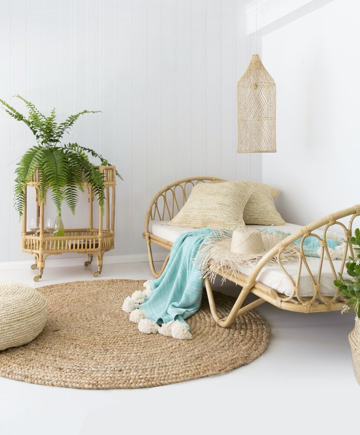 Paris day bed which doubles as a kids bed. All made from natural rattan  www.byronbayhangingchairs.com.au