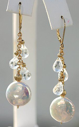 bridal earrings by Karen Astrachan Designs. Coin Pearls, White Topaz w/ golden accents.  stunning.