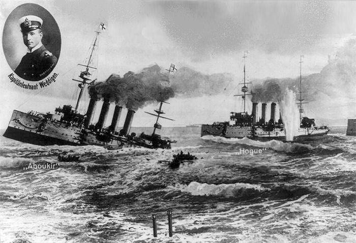 German illustration of that U-Boat feat shows U-9  commanded by    German U Boats Ww1