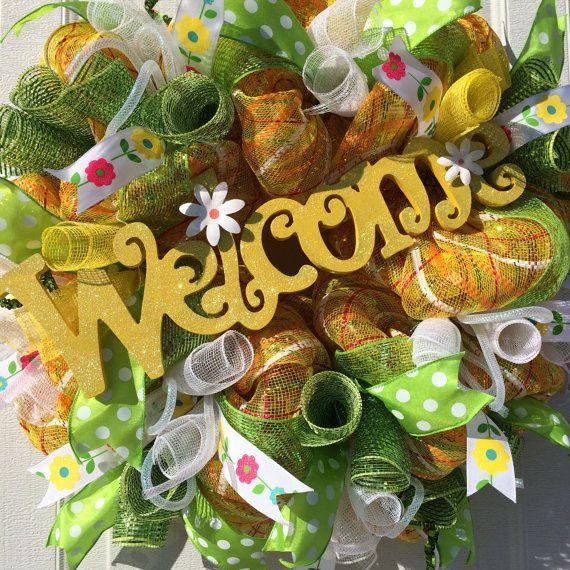 Spring Mesh Wreath Summer Wreath Front Door by NikkisWreathDesigns