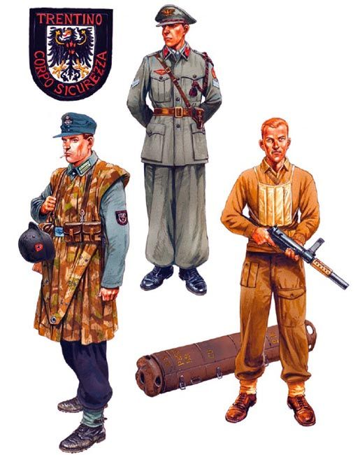 """Autumn 1944"" • Unterwachtmeister, Trientiner Sicherungs Verband, Trento  • Vicebrigadiere, Legione Arditi di Polizia 'Caruso', Milan  • British Liaison Officer, SOE, northern Italy"