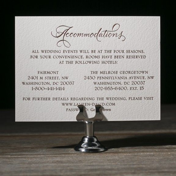 New Calligraphy by Debi Zeinert for Bella Figura accomodations card
