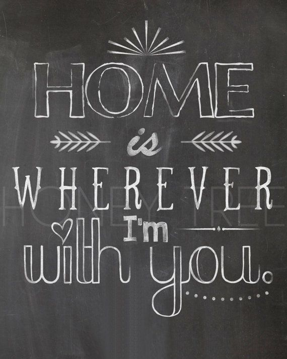 Chalkboard Print- 8x10 Home is wherever I'm with you chalkboard print