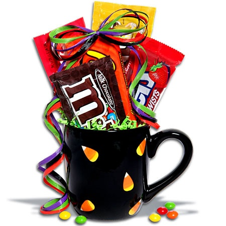 sweets halloween mugs, handpainted with candy corn, twizzlers, plain m's peanut M's, Reese's peanut butter cups, skittles