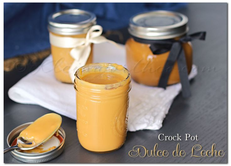 Dulce de Leche (milk caramel) - Crock Pot - Ingredients: 1 can Sweetened Condensed Milk, Canning Jar.. Instructions: Transfer your sweetened condensed milk into whatever size canning jar you desire- (1 can + 1 mid-sized jar or 1 can + 2 small jam jars). Place lids on tight! Place in slow cooker & cover with water.Cook on high 4-6 hours or until it becomes the desired color you are after.  6.Remove carefully & Allow to cool on wire rack 1 hour.  7.Serve hot or store in refrigerator for 2…