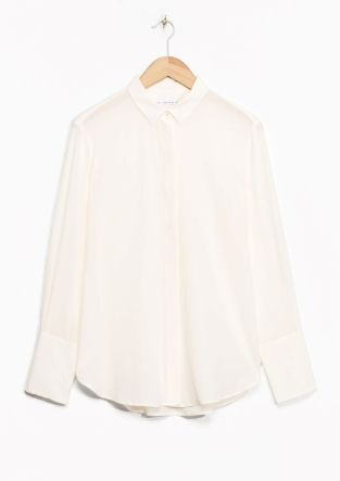 & Other Stories - Wide Cuff Silk Shirt in White