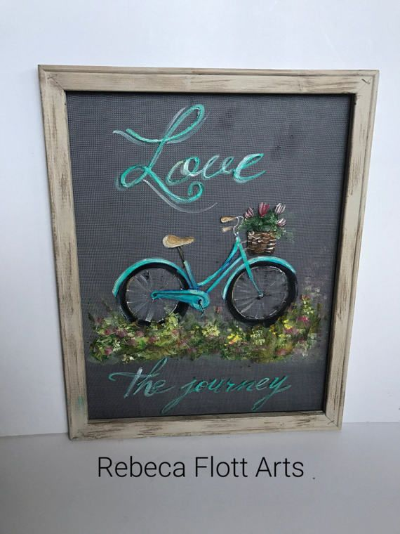 Love the Journeyvintage bike hand painted on window screen
