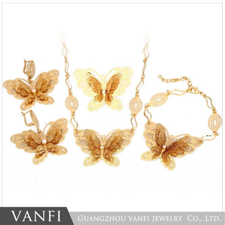 Сумасшедший Самые продаваемые новые позолоченные элегантный форме бабочки серьги и ожерелье африканский свадебный комплект ювелирных изделий