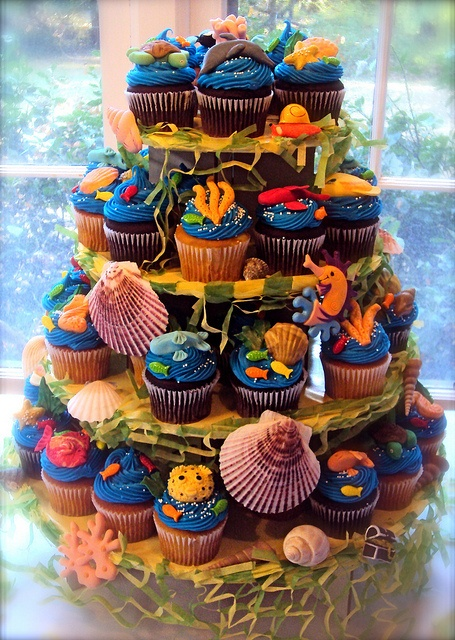 Under the Sea party cupcake tower.