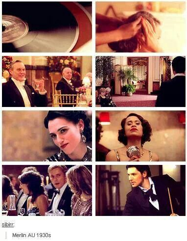 1930s Merlin anyone? Someone fic that. Uther can be a wealthy man, Arthur son of thee wealthy man. Merlin is his best friend who is not as rich as him or his butler. Morgana wants Uther's wealth and Arthur falls in love with a singer (Gwen) even though he's to marry someone richer...I'm waiting