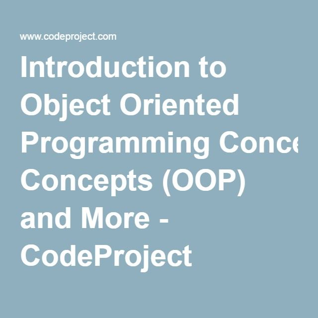 Introduction to object oriented programming concepts
