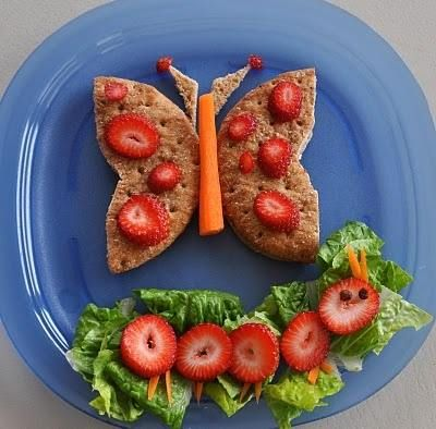 Butterfly sandwich with caterpillar salad