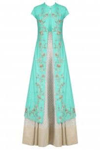 Off White and Turquoise Printed Kurta Set with Embroidered Jacket #offwhite…