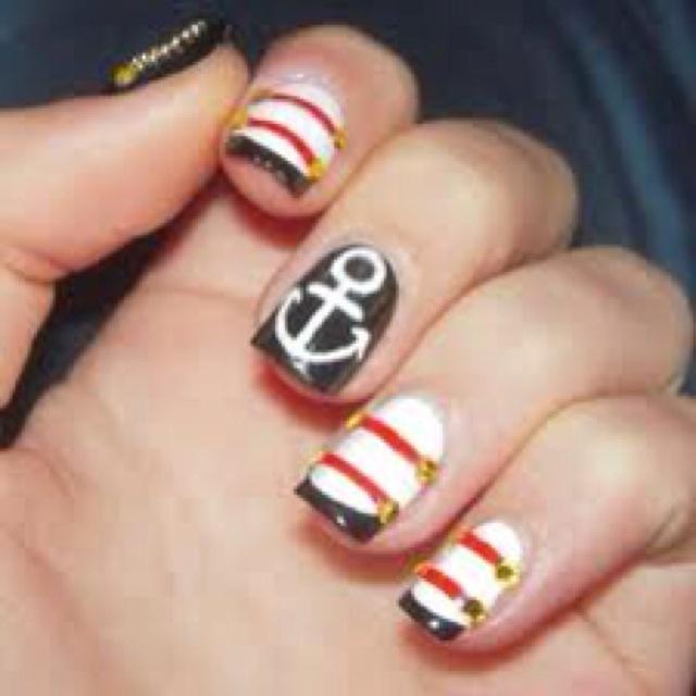 Nails Art, Nailart, Nails Design, Sailors Nails, Summer Nails, Nails Ideas, Nautical Theme, Hot Spring, Nautical Nails