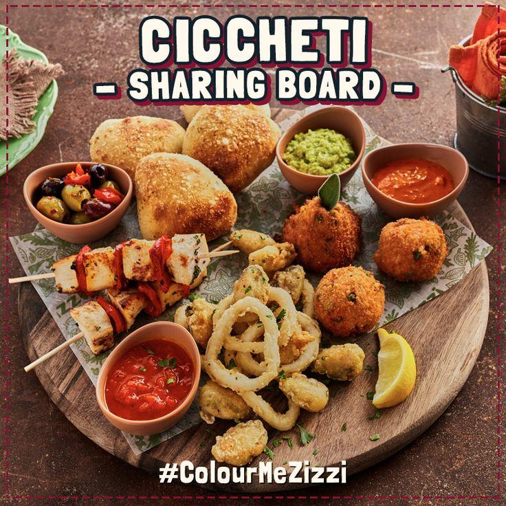 Ciccheti Sharing Board Pulled beef arancini, mozzarella & pea arancini balls, chicken & pepper skewers, calamari, mussel 'popcorn', Zizzi mixed olives & our 'little soul' bread. All served with pepperonata, smoked capia pepper & pea & pecorino dips. #ColourMeZizzi