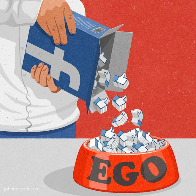 Ego-feeding - 32 Brilliant Retro Style Illustrations That Show What's Wrong With Society Today by John Holcraft