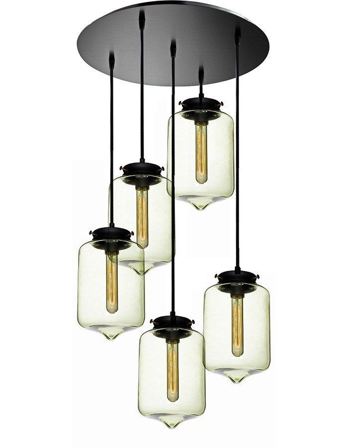 london five light clear glass pendant light