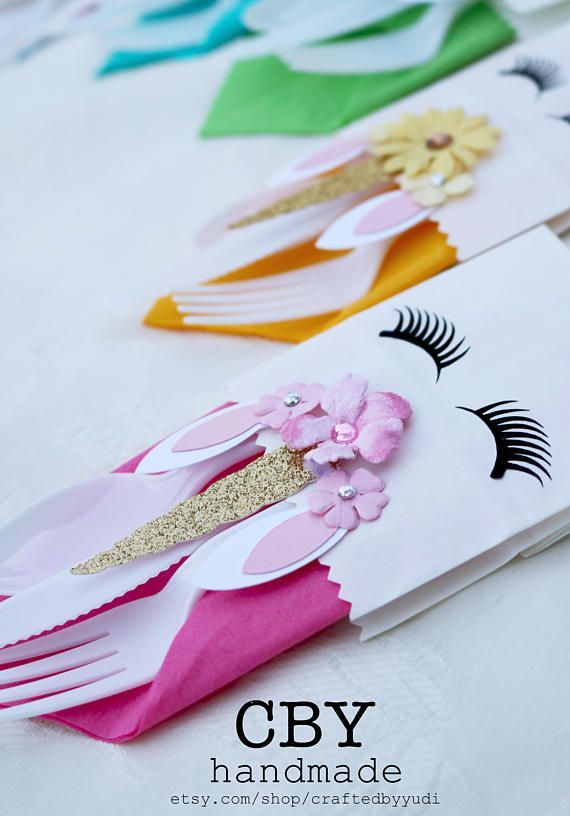 This Listing Is For 5 Unicorn Cutlery Bags With Matching Napkins Note Cutlery Not Included Unicorn Party Unicorn Party Decorations Unicorn Themed Birthday