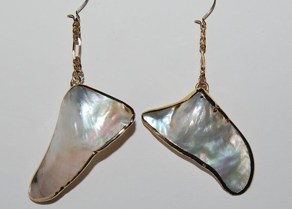 Store closing sale 50% off entire stock now. Mother of pearl shell earrings gold trimmed by silverwireandgems