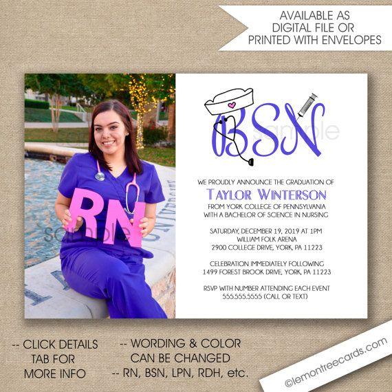 Photo Nurse Graduation Invitation Bsn Graduation Invite