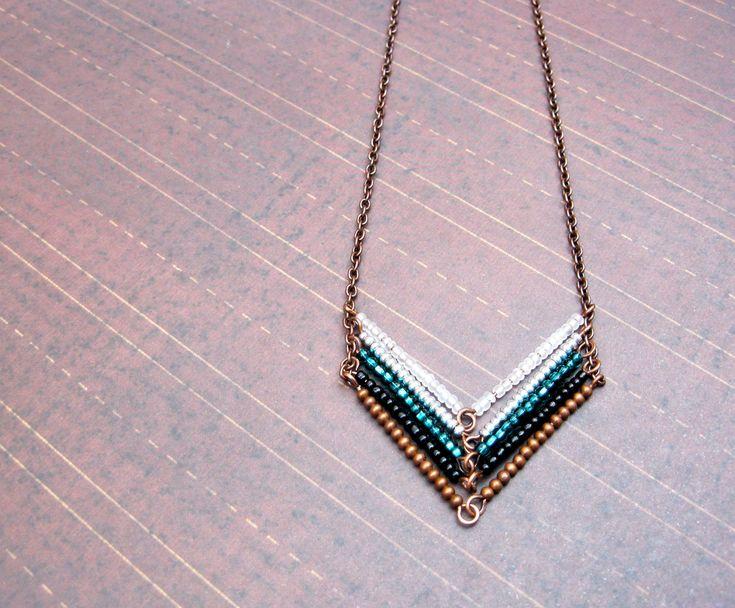 Leading to the Sea - Copper Chevron Necklace, Arrow Necklace. $25.00, via Etsy. HoneyThistle