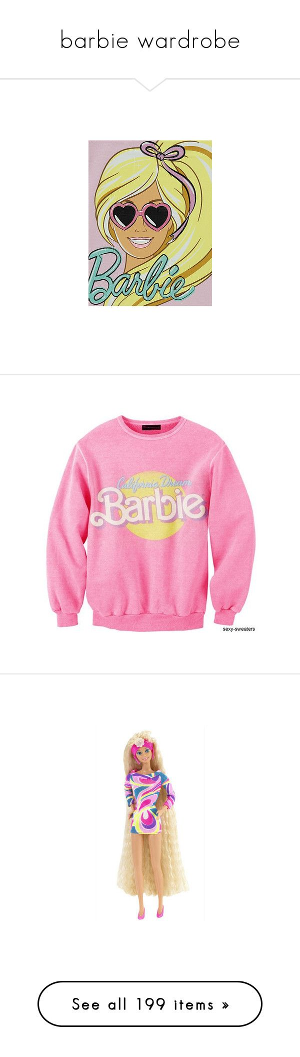 """""""barbie wardrobe"""" by lizzynupa ❤ liked on Polyvore featuring text, barbie, dolls, tops, sweaters, long sleeves, long sleeve tops, pink top, pink long sleeve top and dresses"""