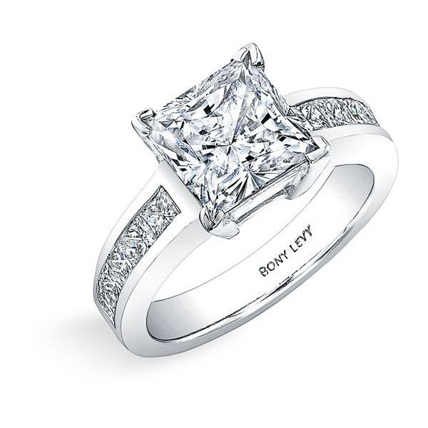 Bony Levy 'Bridal' Princess Cut Diamond Semi Mount Ring (Nordstrom Exclusive) found on Polyvore